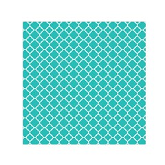Turquoise Quatrefoil Pattern Small Satin Scarf (square) by Zandiepants