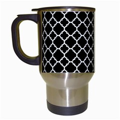 Black & White Quatrefoil Pattern Travel Mug (white) by Zandiepants