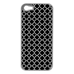 Black & White Quatrefoil Pattern Apple Iphone 5 Case (silver) by Zandiepants