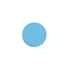 Bright Blue Quatrefoil Pattern 1  Mini Button by Zandiepants