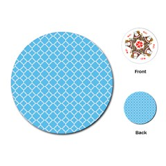 Bright Blue Quatrefoil Pattern Playing Cards (round) by Zandiepants