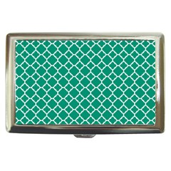 Emerald Green Quatrefoil Pattern Cigarette Money Case by Zandiepants