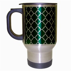 Emerald Green Quatrefoil Pattern Travel Mug (silver Gray) by Zandiepants