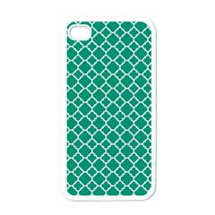 Emerald Green Quatrefoil Pattern Apple Iphone 4 Case (white) by Zandiepants