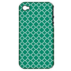 Emerald Green Quatrefoil Pattern Apple Iphone 4/4s Hardshell Case (pc+silicone) by Zandiepants
