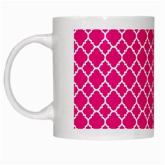 Hot Pink Quatrefoil Pattern White Mug by Zandiepants