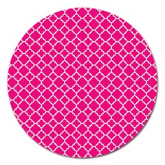 Hot Pink Quatrefoil Pattern Magnet 5  (round) by Zandiepants