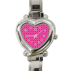 Hot Pink Quatrefoil Pattern Heart Italian Charm Watch by Zandiepants