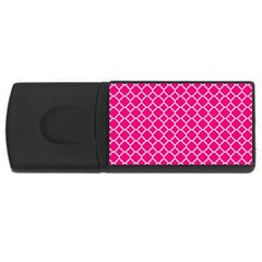 Hot Pink Quatrefoil Pattern Usb Flash Drive Rectangular (4 Gb) by Zandiepants