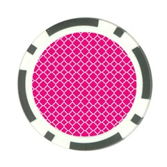 Hot Pink Quatrefoil Pattern Poker Chip Card Guard (10 Pack) by Zandiepants