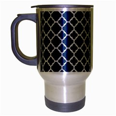 Navy Blue Quatrefoil Pattern Travel Mug (silver Gray) by Zandiepants