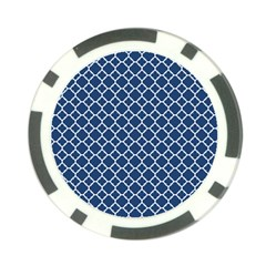 Navy Blue Quatrefoil Pattern Poker Chip Card Guard by Zandiepants