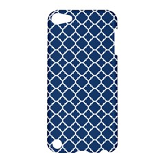 Navy Blue Quatrefoil Pattern Apple Ipod Touch 5 Hardshell Case by Zandiepants