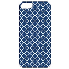 Navy Blue Quatrefoil Pattern Apple Iphone 5 Classic Hardshell Case by Zandiepants