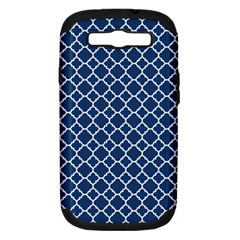 Navy Blue Quatrefoil Pattern Samsung Galaxy S Iii Hardshell Case (pc+silicone) by Zandiepants