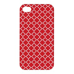Poppy Red Quatrefoil Pattern Apple Iphone 4/4s Premium Hardshell Case by Zandiepants