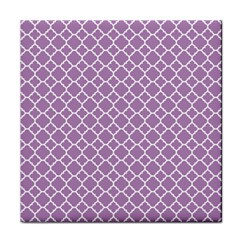 Lilac Purple Quatrefoil Pattern Tile Coaster by Zandiepants