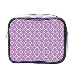 Lilac Purple Quatrefoil Pattern Mini Toiletries Bag (one Side) by Zandiepants