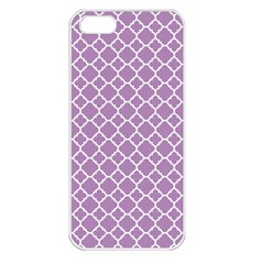 Lilac Purple Quatrefoil Pattern Apple Iphone 5 Seamless Case (white) by Zandiepants