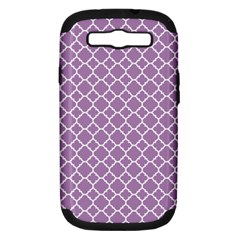 Lilac Purple Quatrefoil Pattern Samsung Galaxy S Iii Hardshell Case (pc+silicone) by Zandiepants