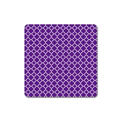 Royal Purple Quatrefoil Pattern Magnet (square) by Zandiepants