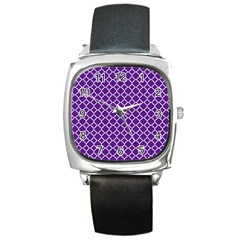 Royal Purple Quatrefoil Pattern Square Metal Watch by Zandiepants