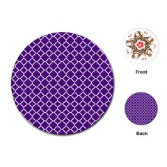 Royal Purple Quatrefoil Pattern Playing Cards (round) by Zandiepants