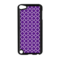 Royal Purple Quatrefoil Pattern Apple Ipod Touch 5 Case (black) by Zandiepants