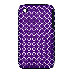 Royal Purple Quatrefoil Pattern Apple Iphone 3g/3gs Hardshell Case (pc+silicone) by Zandiepants
