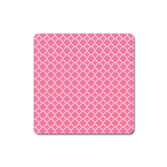 Soft Pink Quatrefoil Pattern Magnet (square) by Zandiepants