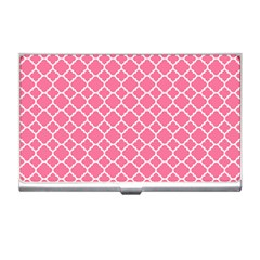 Soft Pink Quatrefoil Pattern Business Card Holder by Zandiepants