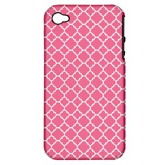 Soft Pink Quatrefoil Pattern Apple Iphone 4/4s Hardshell Case (pc+silicone) by Zandiepants