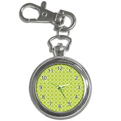 Spring Green Quatrefoil Pattern Key Chain Watch by Zandiepants