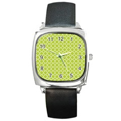 Spring Green Quatrefoil Pattern Square Metal Watch by Zandiepants