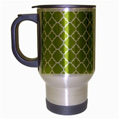 Spring Green Quatrefoil Pattern Travel Mug (silver Gray) by Zandiepants