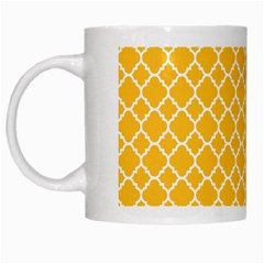 Sunny Yellow Quatrefoil Pattern White Mug by Zandiepants