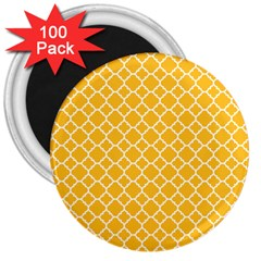 Sunny Yellow Quatrefoil Pattern 3  Magnet (100 Pack) by Zandiepants
