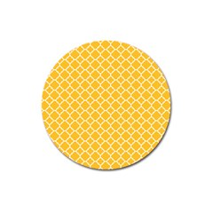 Sunny Yellow Quatrefoil Pattern Magnet 3  (round) by Zandiepants
