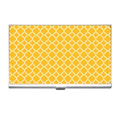 Sunny Yellow Quatrefoil Pattern Business Card Holder by Zandiepants
