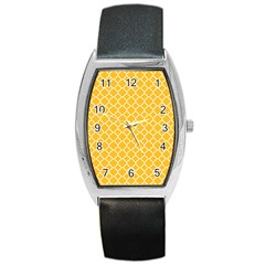 Sunny Yellow Quatrefoil Pattern Barrel Style Metal Watch by Zandiepants
