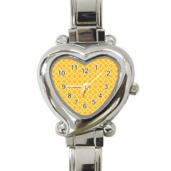 Sunny Yellow Quatrefoil Pattern Heart Italian Charm Watch by Zandiepants