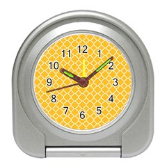 Sunny Yellow Quatrefoil Pattern Travel Alarm Clock by Zandiepants