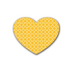 Sunny Yellow Quatrefoil Pattern Rubber Coaster (heart) by Zandiepants