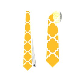 Sunny Yellow Quatrefoil Pattern Necktie (one Side) by Zandiepants