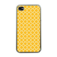 Sunny Yellow Quatrefoil Pattern Apple Iphone 4 Case (clear) by Zandiepants