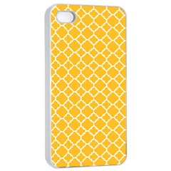 Sunny Yellow Quatrefoil Pattern Apple Iphone 4/4s Seamless Case (white) by Zandiepants