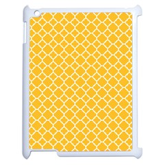 Sunny Yellow Quatrefoil Pattern Apple Ipad 2 Case (white) by Zandiepants