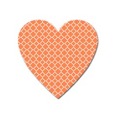 Tangerine Orange Quatrefoil Pattern Magnet (heart) by Zandiepants