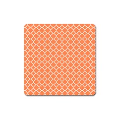Tangerine Orange Quatrefoil Pattern Magnet (square) by Zandiepants