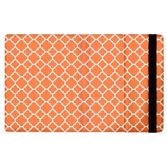 Tangerine Orange Quatrefoil Pattern Apple Ipad 2 Flip Case